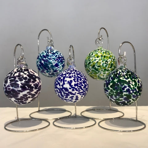 Blown glass ornaments in Stained Glass colors