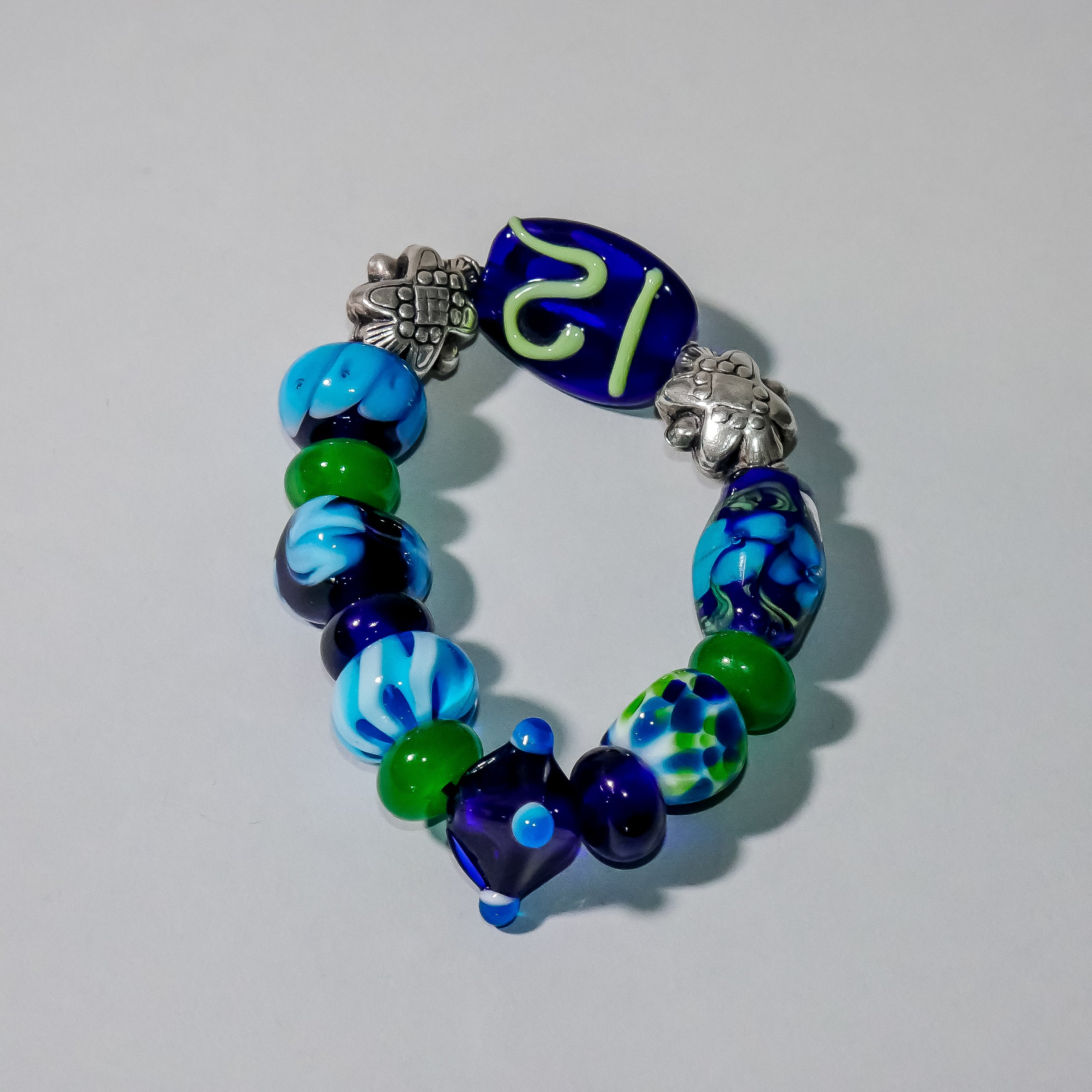 "Chunky ""Number 12"" Glass and Silver Bracelet"