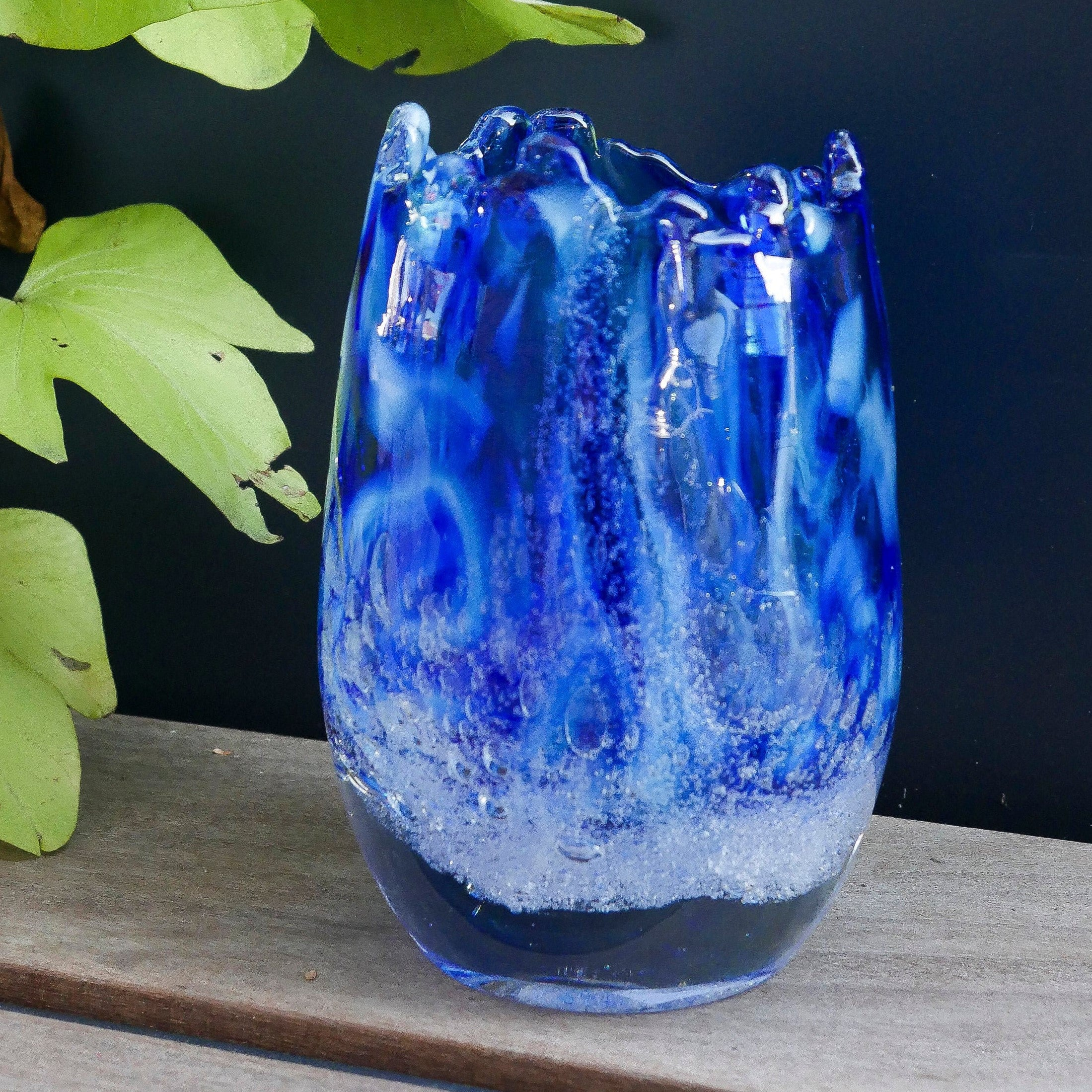 Blown Glass Tall Votive. Blue with Effervescence.