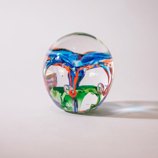 "Large Glass Paperweight:  ""Blue Orchid"""