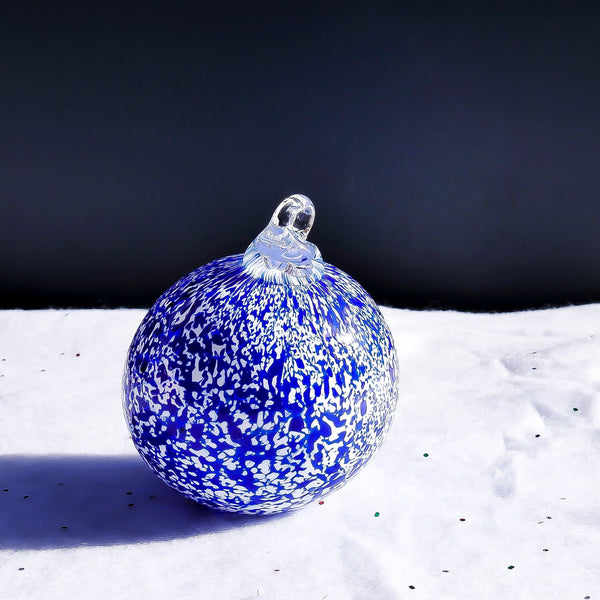 Blown Glass Globe Ornament. Blue Blizzard.