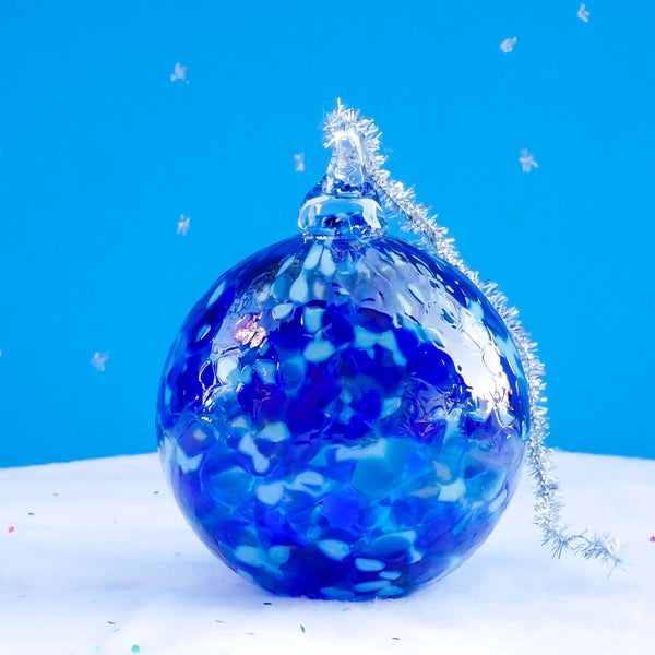 Blown Glass Globe Ornament. Bright Blue Snow Flake.