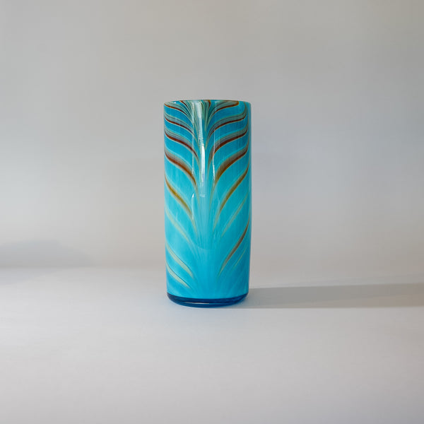 "Blown Glass Cylinder Vase:  ""Blue Missive"" . Signed by Artist."