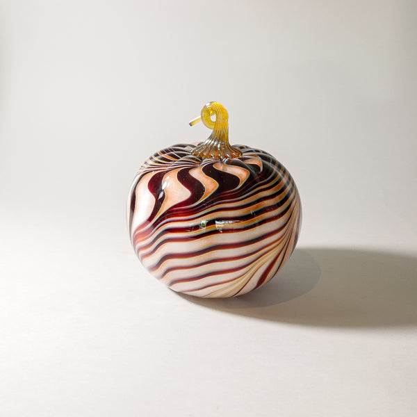 "Large Blown Glass Pumpkin:  "" Tigers Eye """