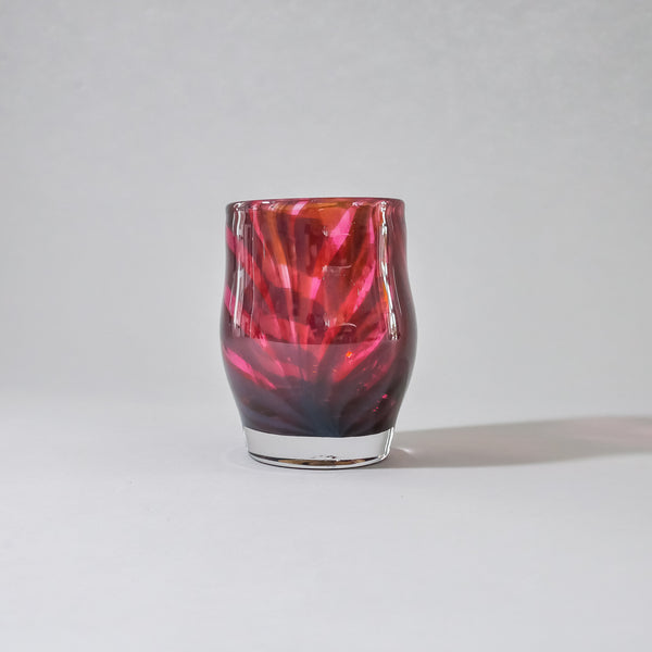 Blown Glass Votive:  Burgandy on Rose