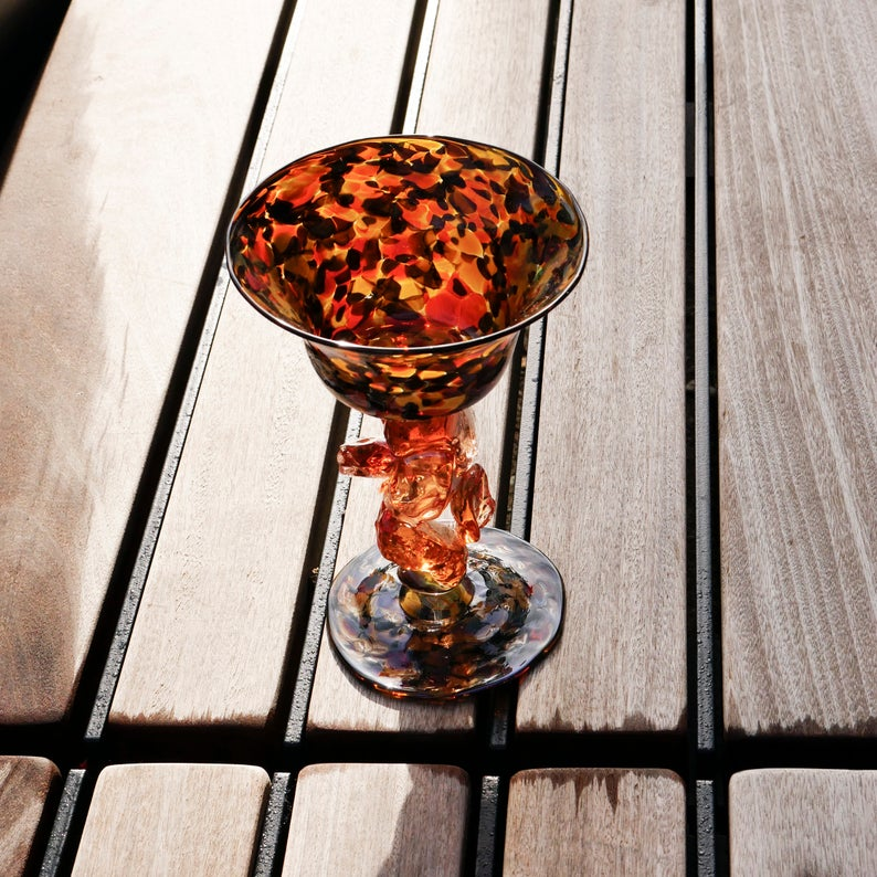 "Blown Wine Glass With Chunky Stem: ""Calico"""