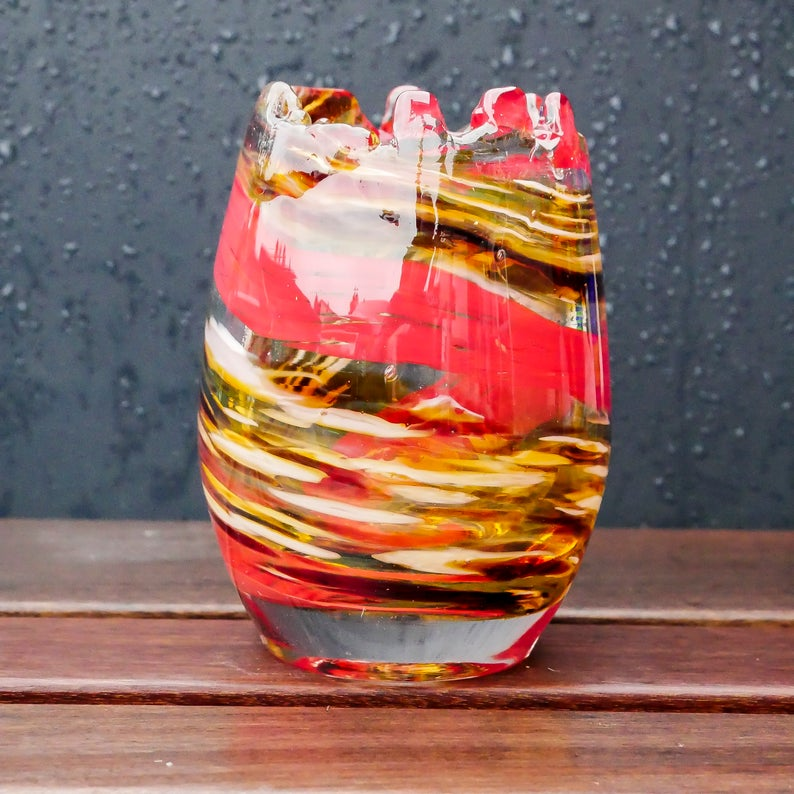 Large Blown Glass Votive. Red and Golden Brown.