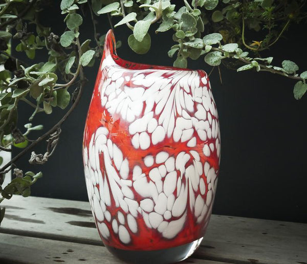 "Blown Glass Vase - ""Carmine Cream"""