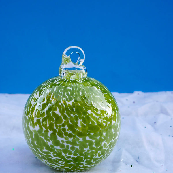 Blown Glass Globe Ornament. Chartreuse Blizzard.