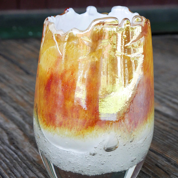 Handmade blown glass votive - creme brulee