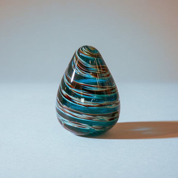 Handmade Paperweight Easter egg:  Blue, White, Brown