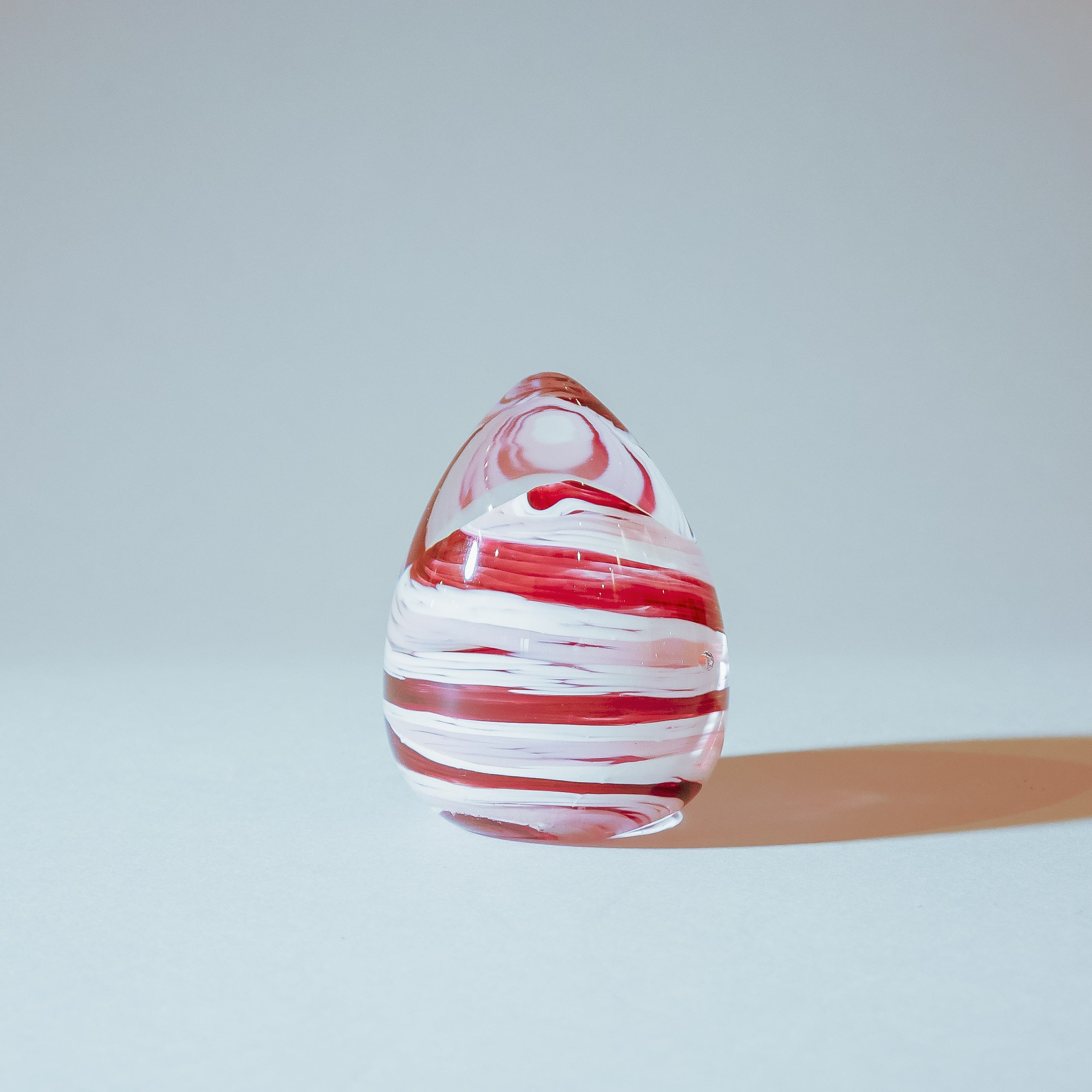 Handmade Paperweight Easter egg:  White and Red