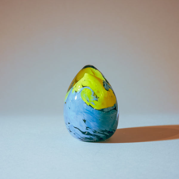 Handmade Paperweight Easter Egg:  Light Blue, Yellow, Clear
