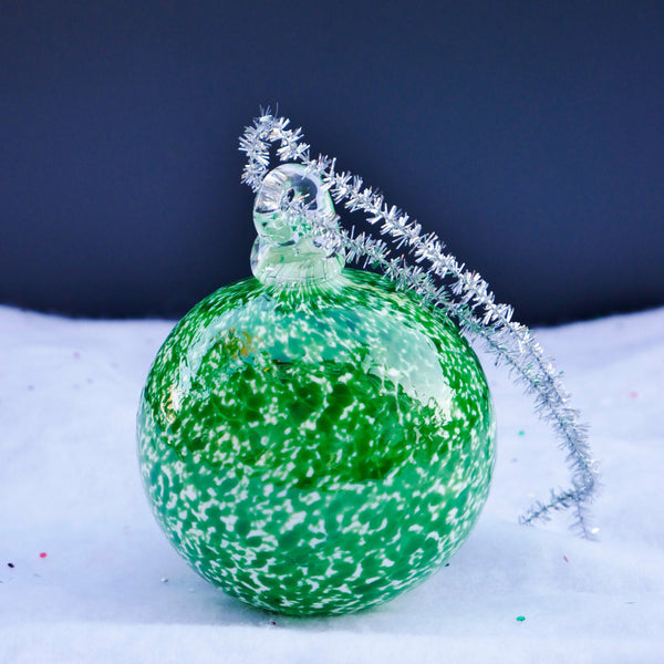 Blown Glass Globe Ornament. Fir Tree Green Blizzard.
