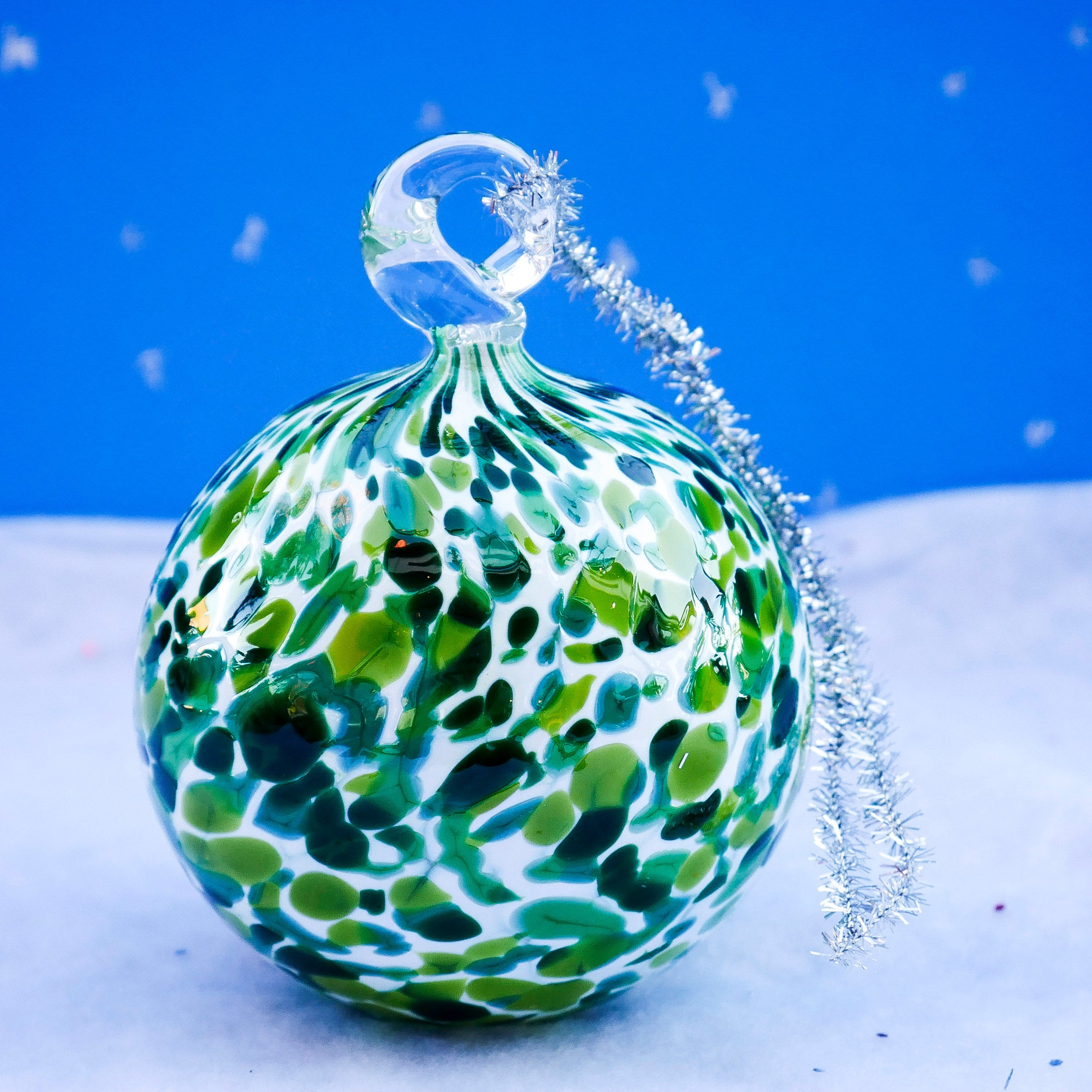 Blown Glass Ornament. Green - ABF Series