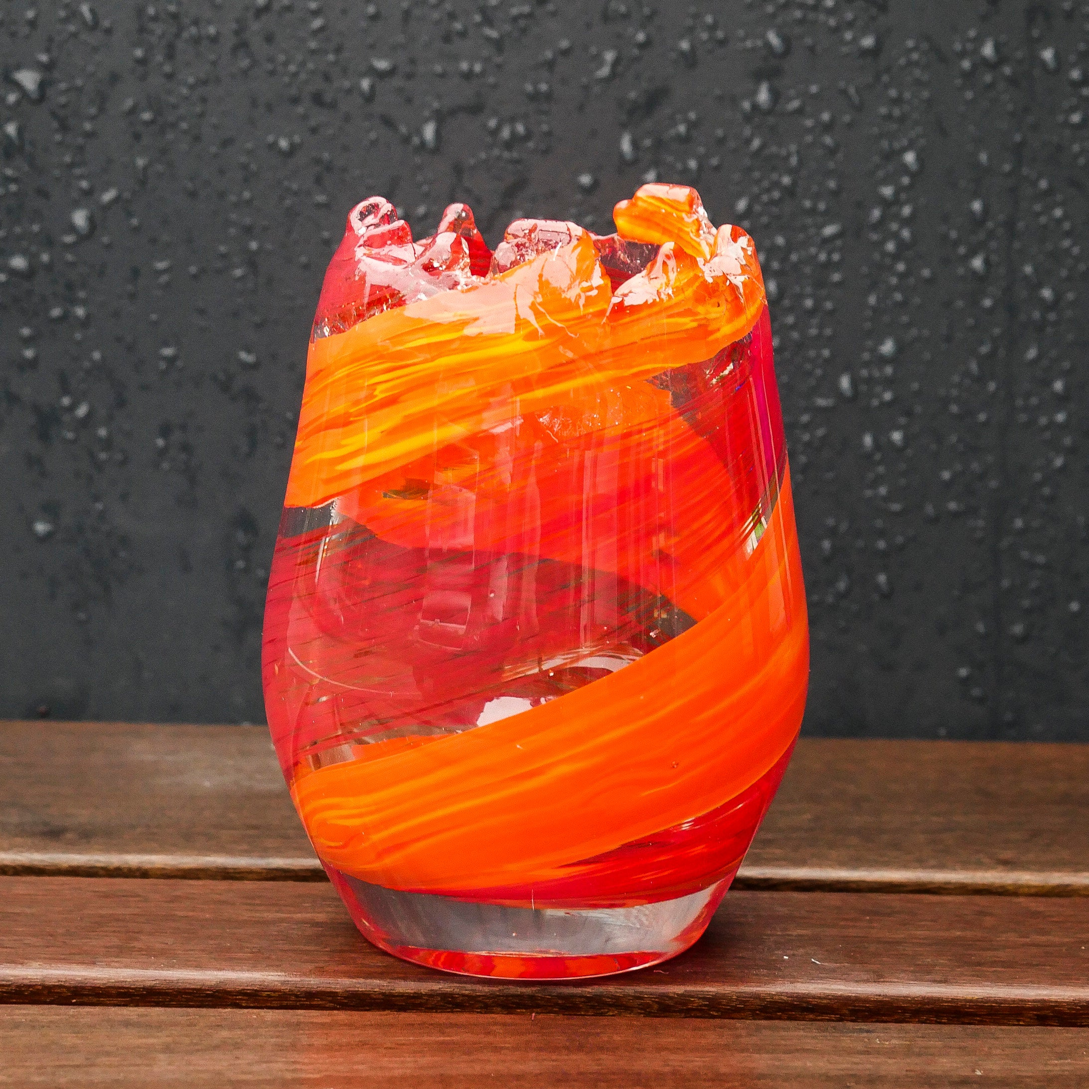 Blown Large Glass Votive: Orange and Red Twist