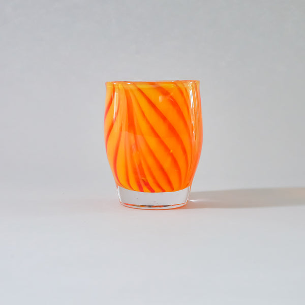 Blown Glass Votive:  Orange and Red