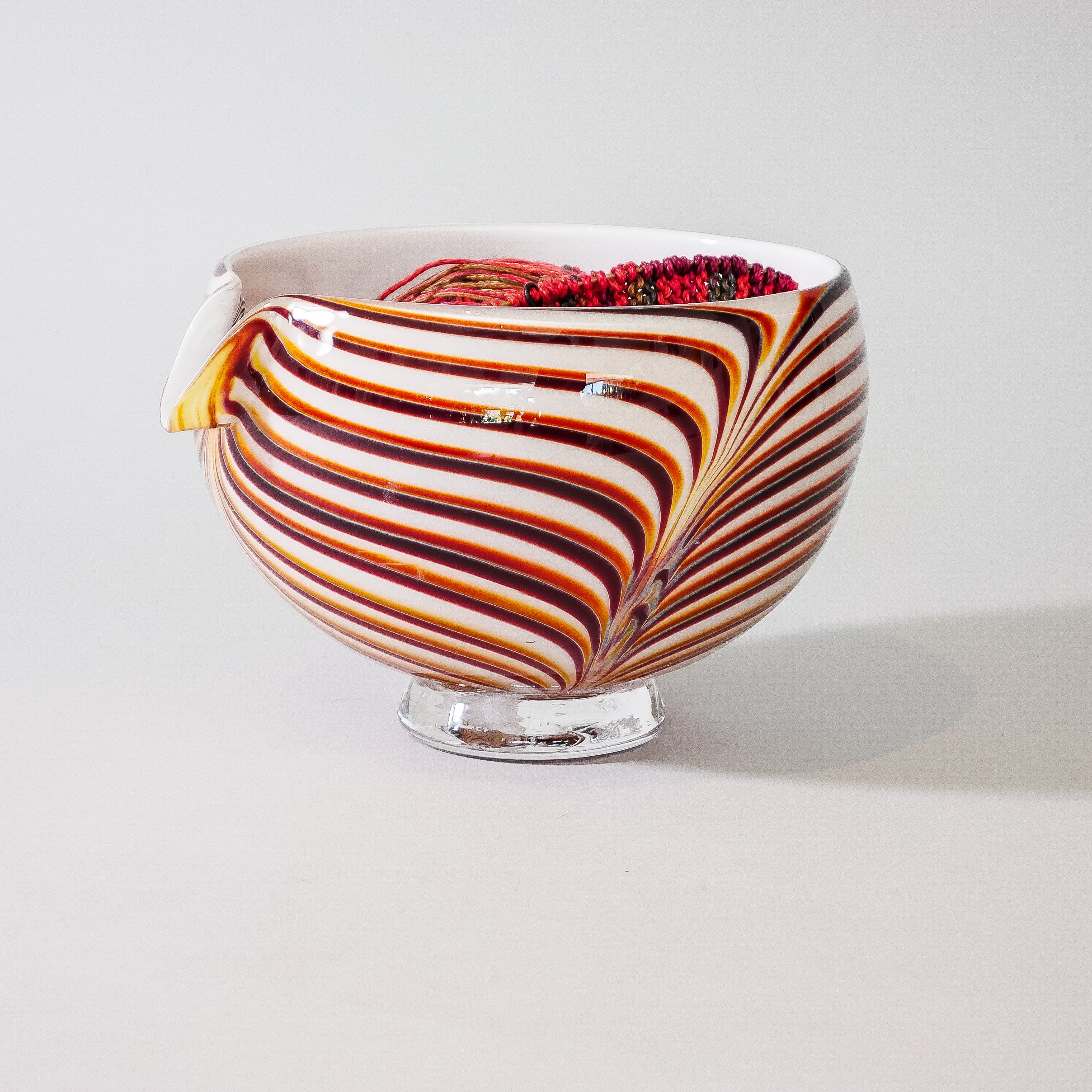 "Blown Glass Yarn Bowl:  ""Tiger"""
