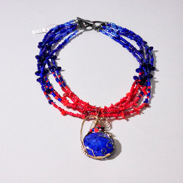 Wire Wrapped Glass and Coral Necklace in Blue and Red