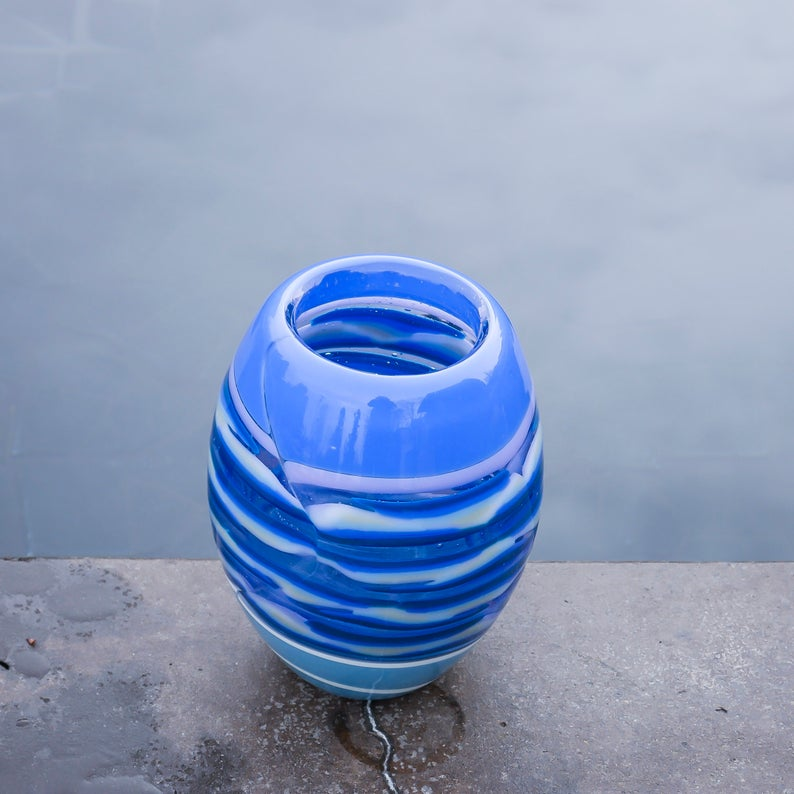 "Blown Modern Glass Vase: ""Blue Strata"""
