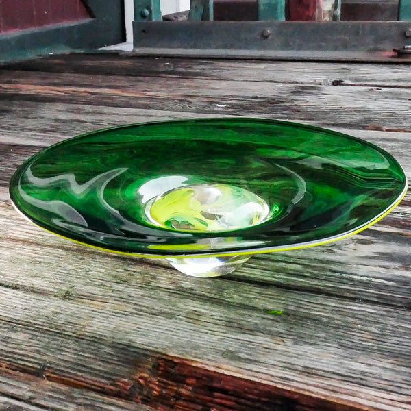"Blown Green Shallow Bowl:  ""Spring Is Coming"""