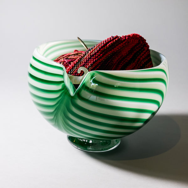 "Blown Glass Yarn Bowl:  ""Green Fields """