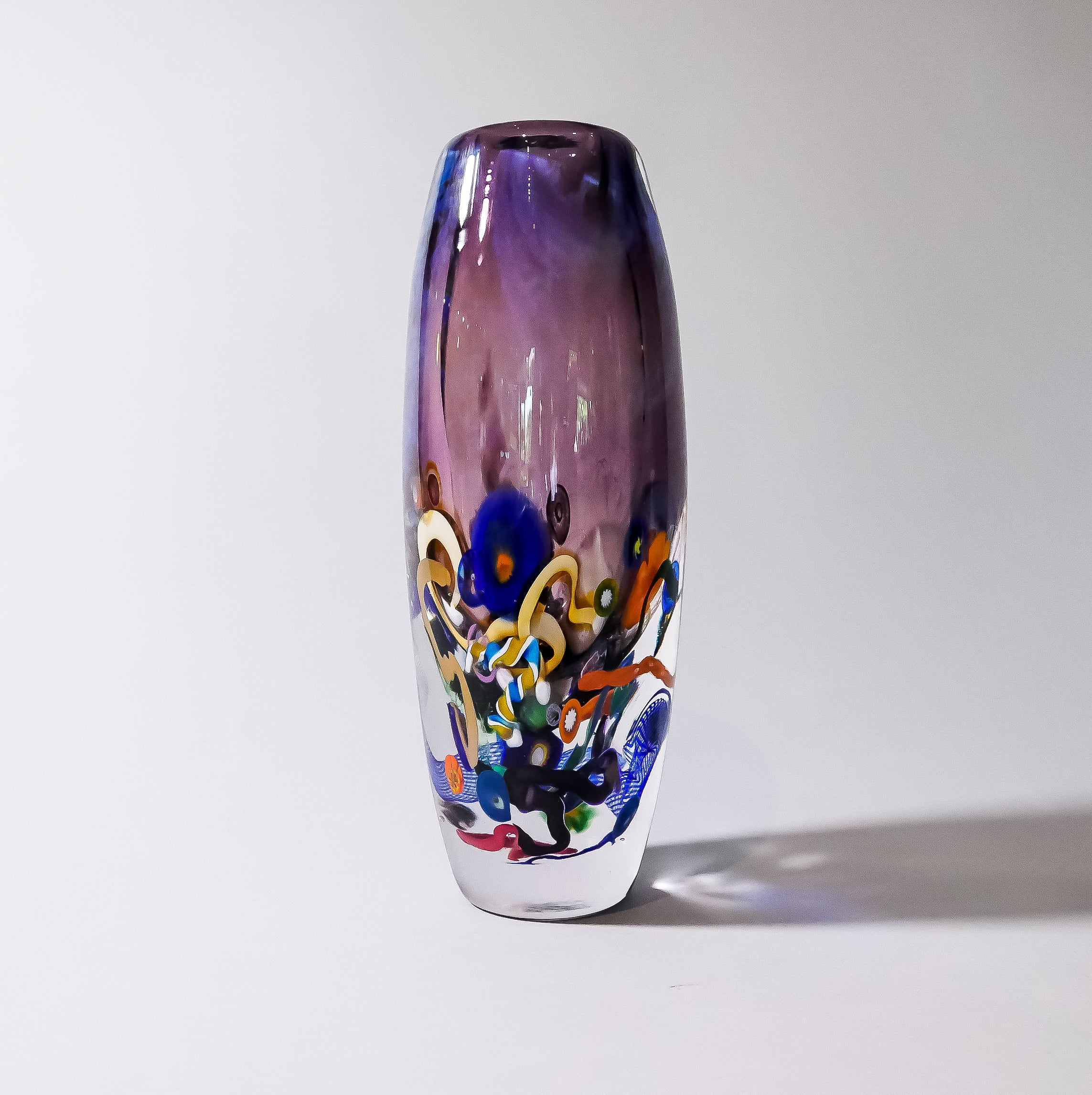 "Tall Blown Barrel Vase:  ""Inclusion Series"".  Signed by Leonard Whitfield, artist."