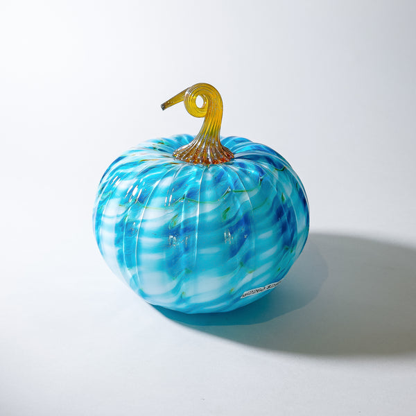 "Large Blown Glass Pumpkin:  ""Blue Nebula """