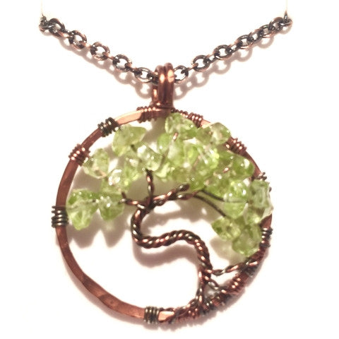 tree of life necklace - antique copper with peridot