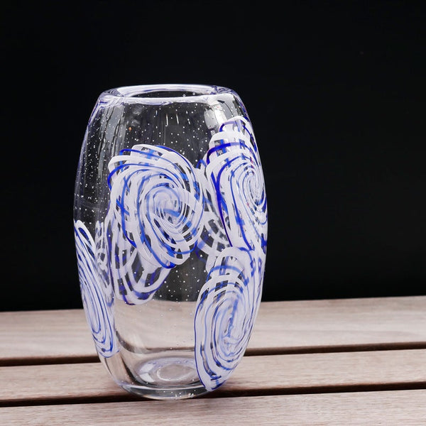 "Blown Glass Barrel Vase: ""Pinwheels"""