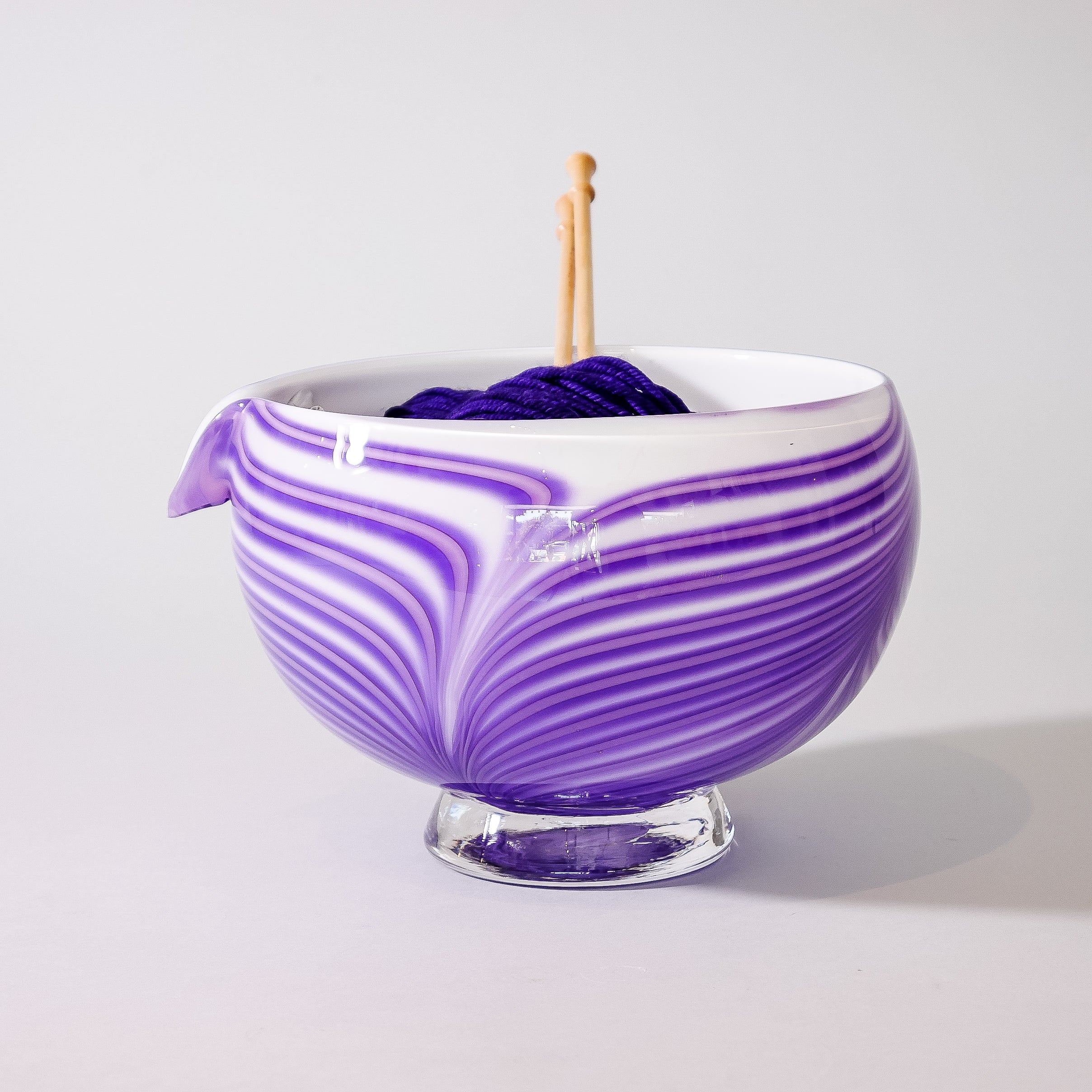 "Blown Glass Yarn Bowl:  ""Lavender Fields"""