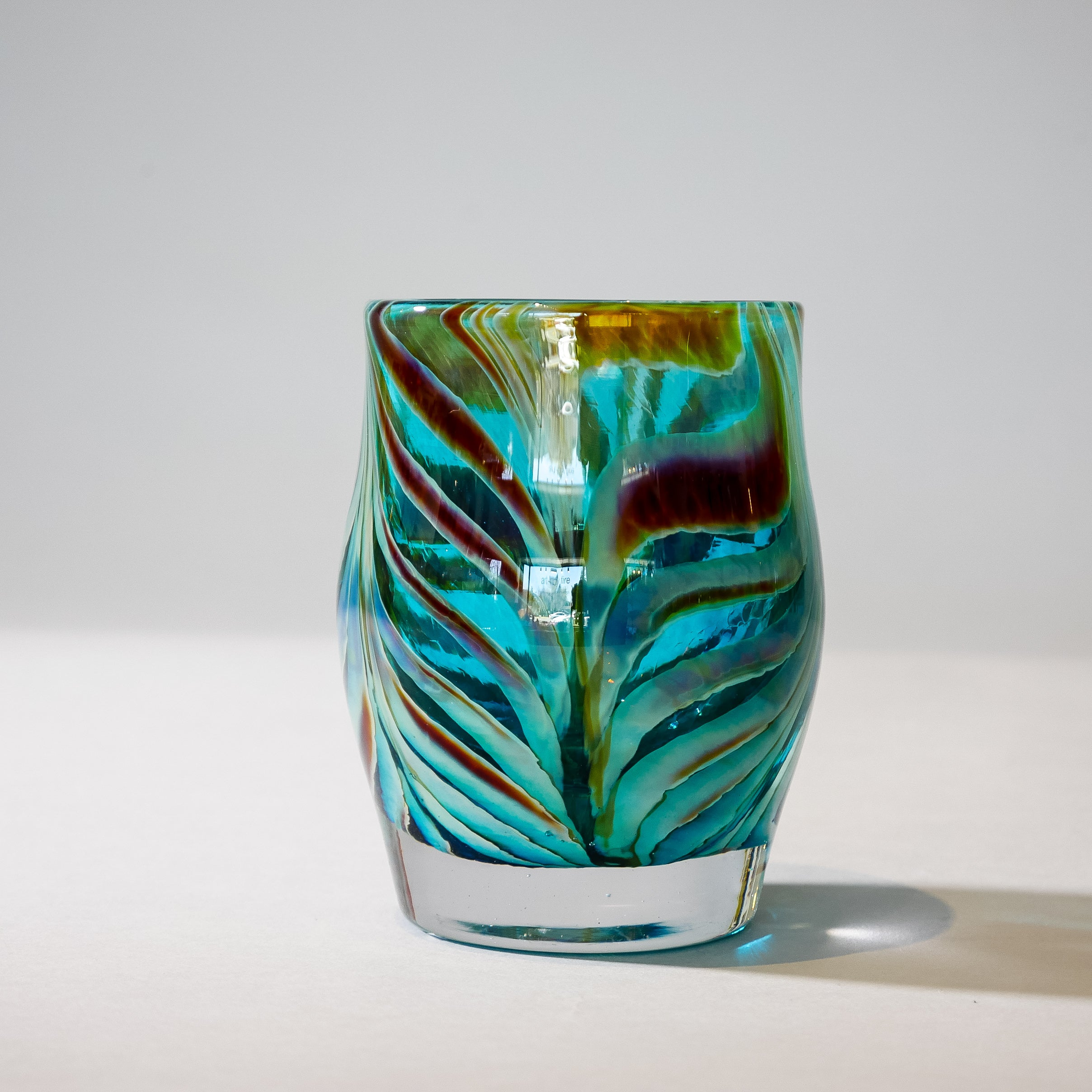 Small Blown Votive: Teal and Umber Feathered.