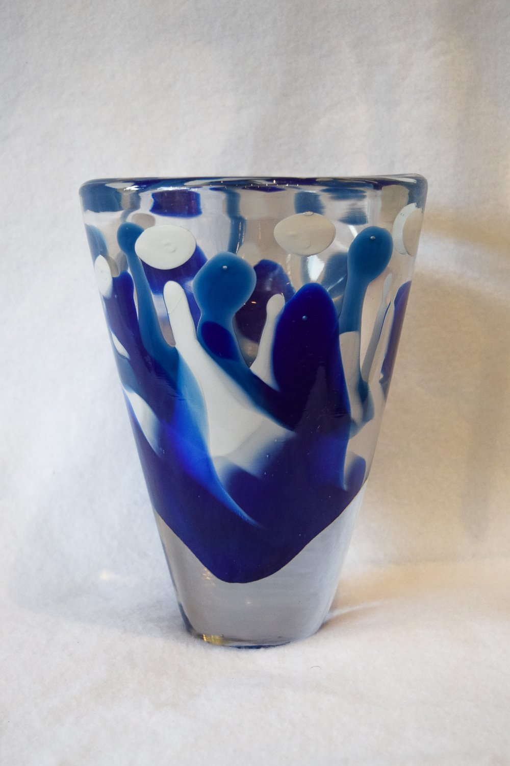 Blue Eruption Wide Shoulder Paperweight Vase