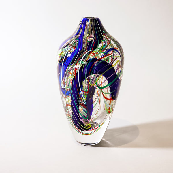 "Blown Glass Modern Vase:  ""Currents""by Leonard Whitfield"