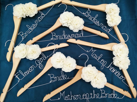 Free shipping 7 Personalized Wedding Hangers, bridesmaid gifts, name hanger, brides hanger