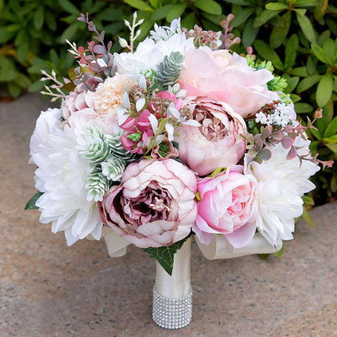 Beach Wedding Bouquet Pink Artificial Wedding Flowers with Vintage Style Brooch