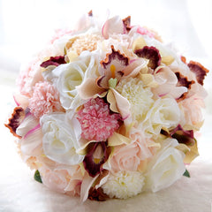 Pink Blush Ivory Real Touch Wedding Bouquets For Brides Outside Beach Wedding Artificial Wedding Flowers - Silk Flowers By Jean