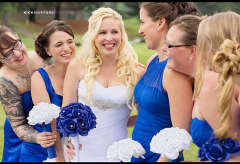 17 Piece Royal Blue & White Rose Bouquet Wedding Package Set