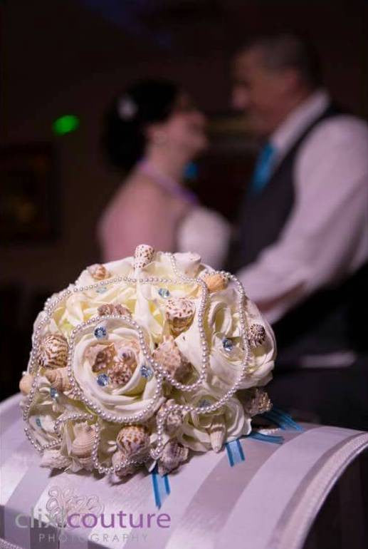 Sea Shell Wedding Bouquet with Ivory Real Touch Roses - Silk Flowers By Jean