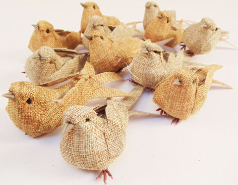 Six Decorative Artificial Burlap Birds Set