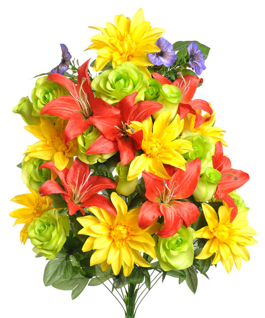 Artificial yellow red orange lilies lime roses memorial flower artificial yellow red orange lilies lime roses memorial flower arrangement memorial flowers mightylinksfo