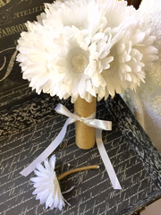 Ready to Ship Silk Ivory White Daisy Wedding Bouquet wrapped in Natural Twine with Matching Boutonniere