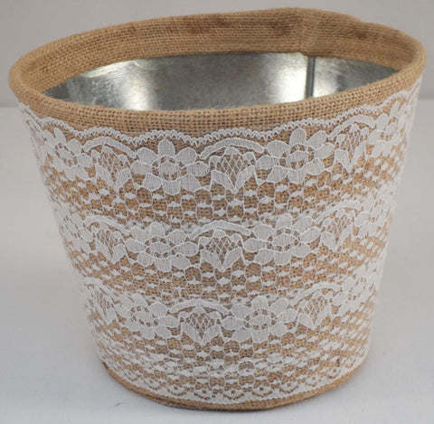 Decor Burlap Planter with Lace