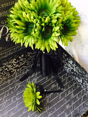 Ready to Ship Silk Lime Green Daisy Wedding Bouquet with Matching Boutonniere