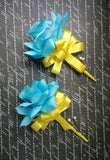 17 Piece Malibu Blue Yellow Silk Rose Wedding Bouquet Flower Set with Matching Boutonnieres & Corsages