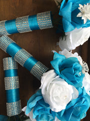 17 Piece Silk Malibu Blue White Rose with Silver accents Wedding Set with Matching Boutonnieres and Corsages - Silk Flowers By Jean