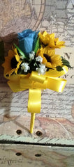 Silk Sunflower Malibu Blue Rose Wedding Bouquet Flower Set