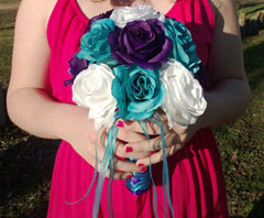 17 Piece Malibu Blue White Purple Rose Wedding Bouquet Flower Set with Boutonnieres & Corsages