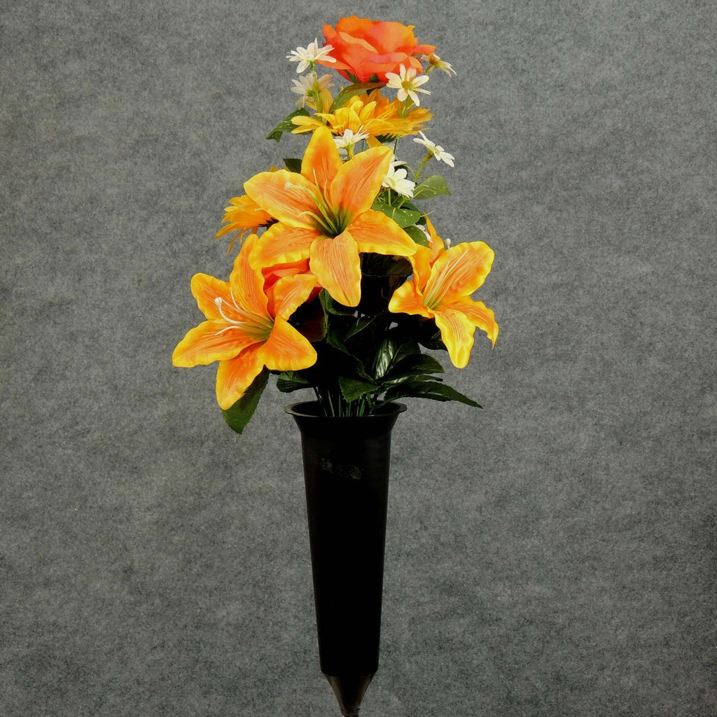 Artificial Yellow Orange Lilies Roses Memorial Flower Arrangement