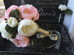 Ready to Ship Real Touch Ivory & Pink Cottage Rose Wedding Bouquet Set
